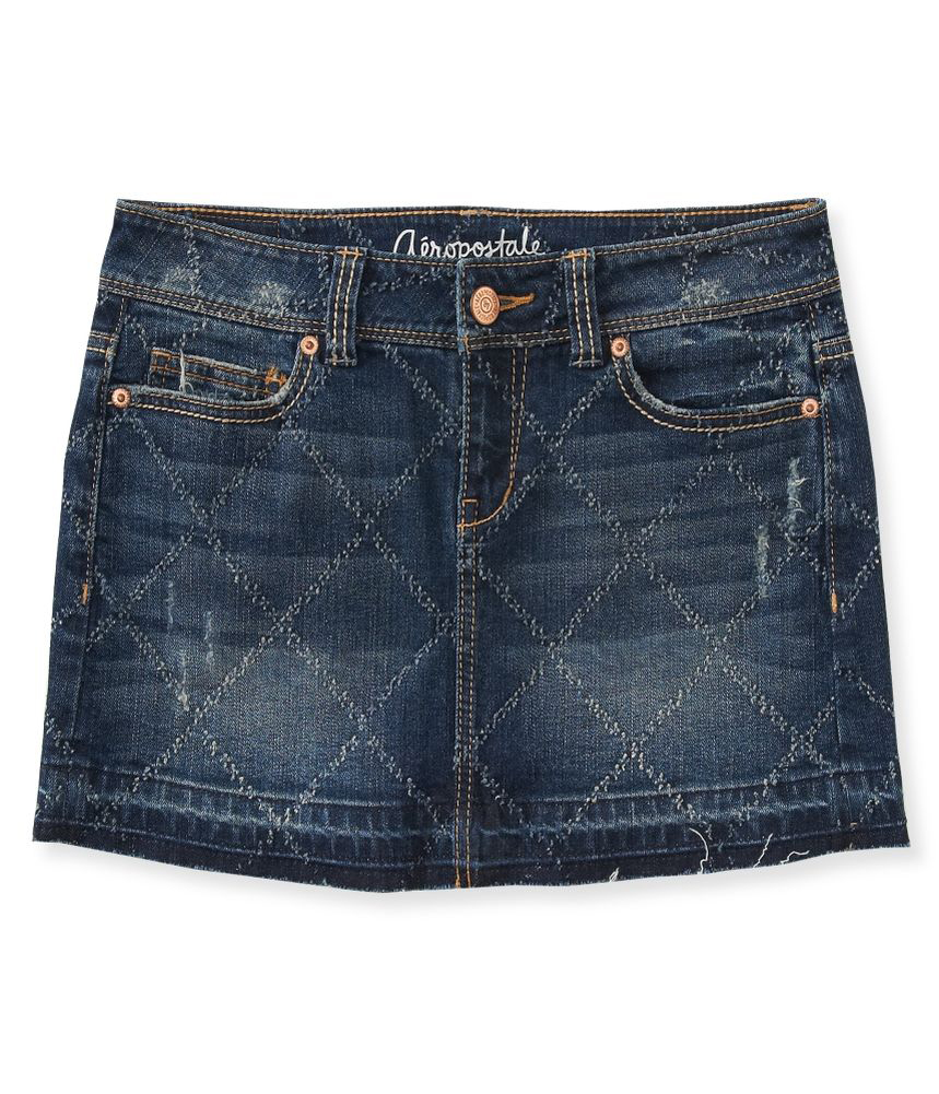 aeropostale womens distressed pattern denim mini skirt