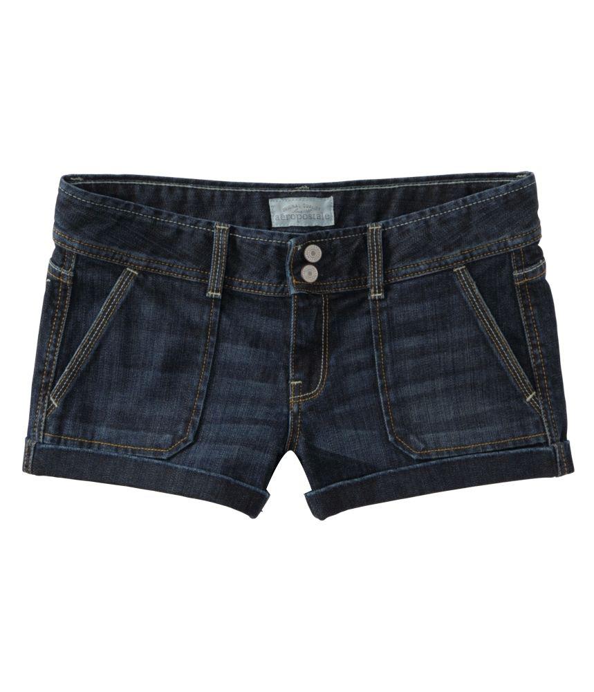 Aeropostale Womens Flap Back Pockets Casual Denim Shorts blues 3/4