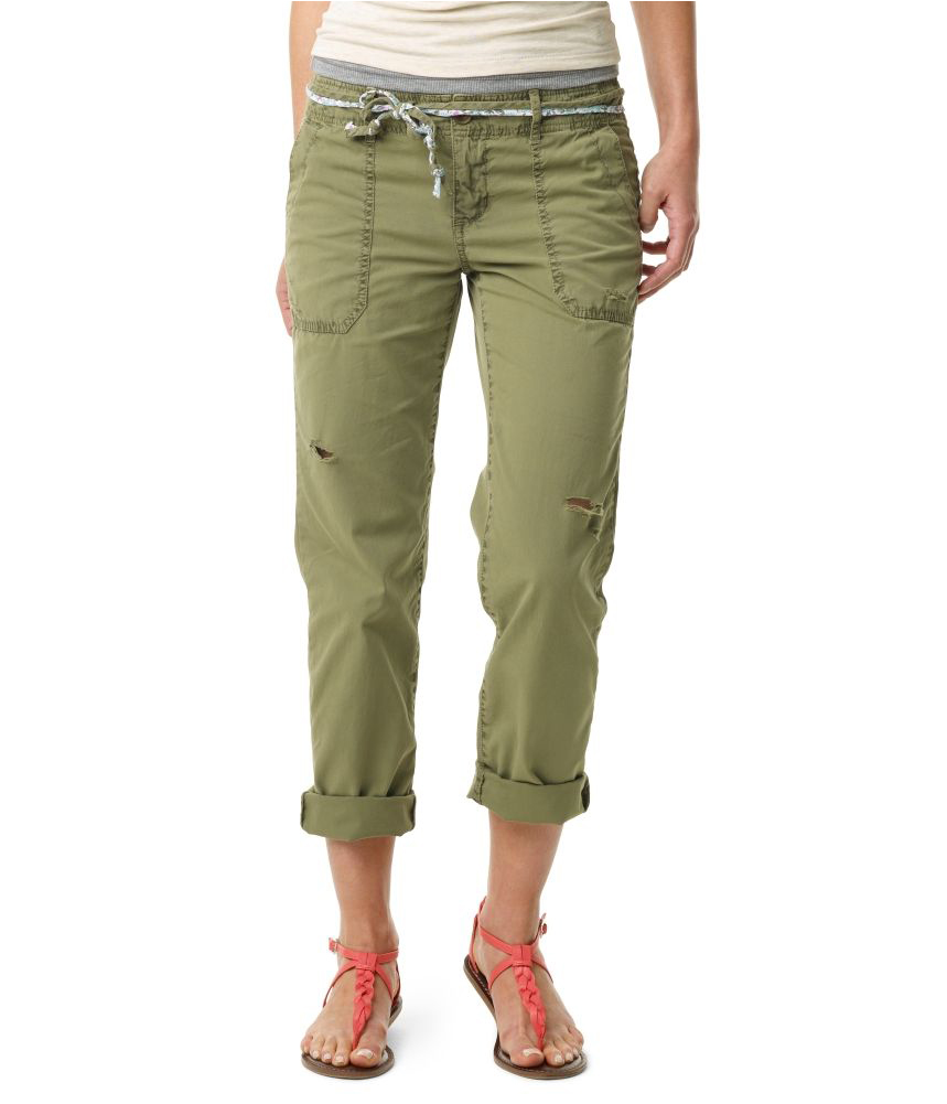 Aeropostale Womens Straight Leg Belted Casual Chino Pants