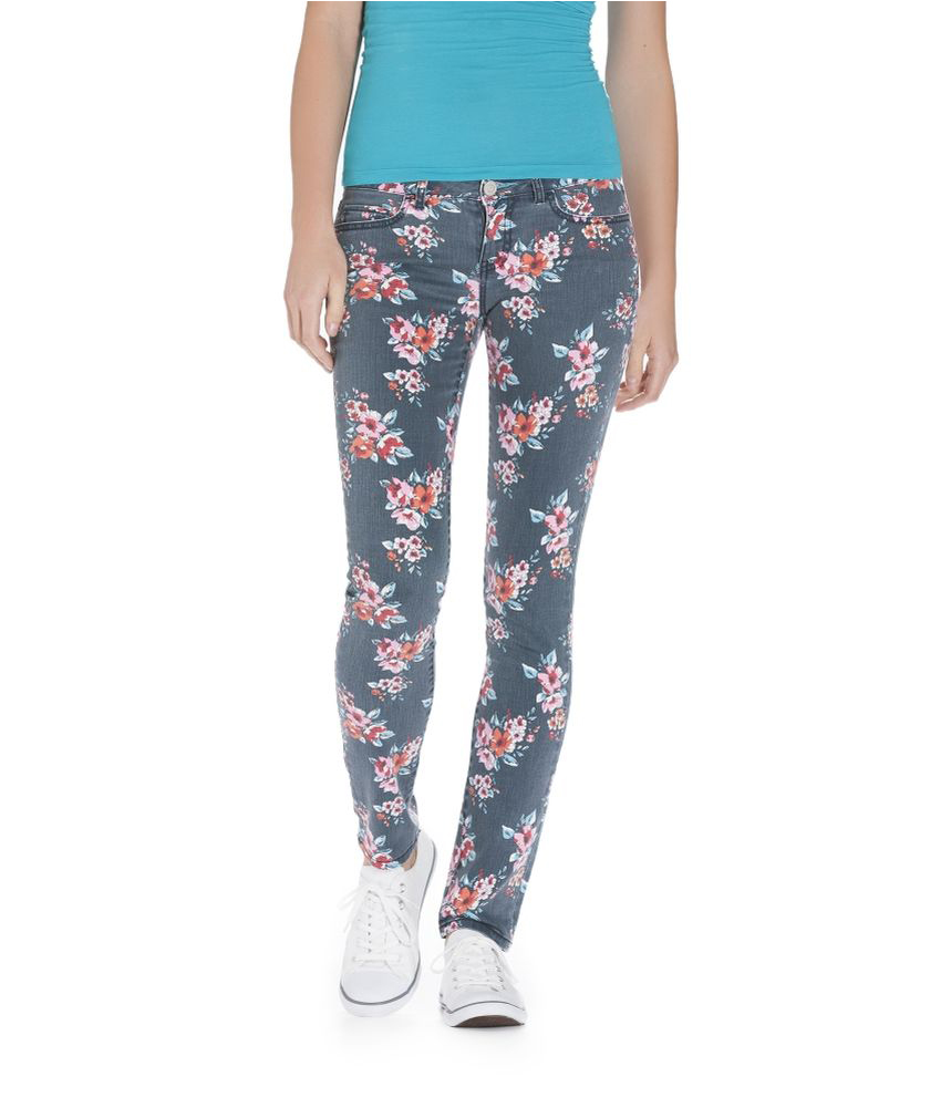 Aeropostale Womens Ashley Ultra Floral Pattern Skinny Fit Jeans ...