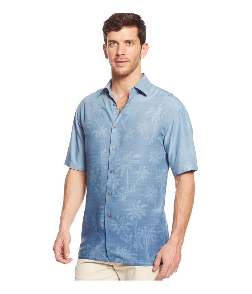 Campia moda mens ombre palm button up shirt ebay for Guys button up shirts