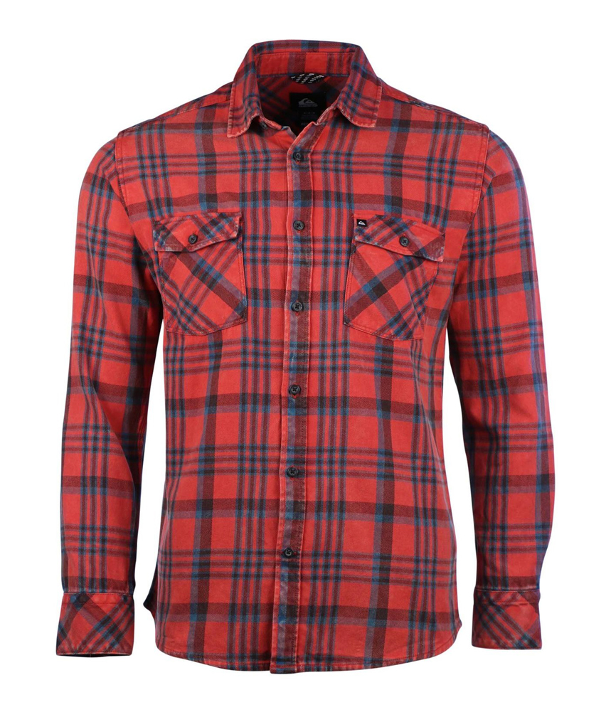 quiksilver mens flannel plaid button up shirt ebay