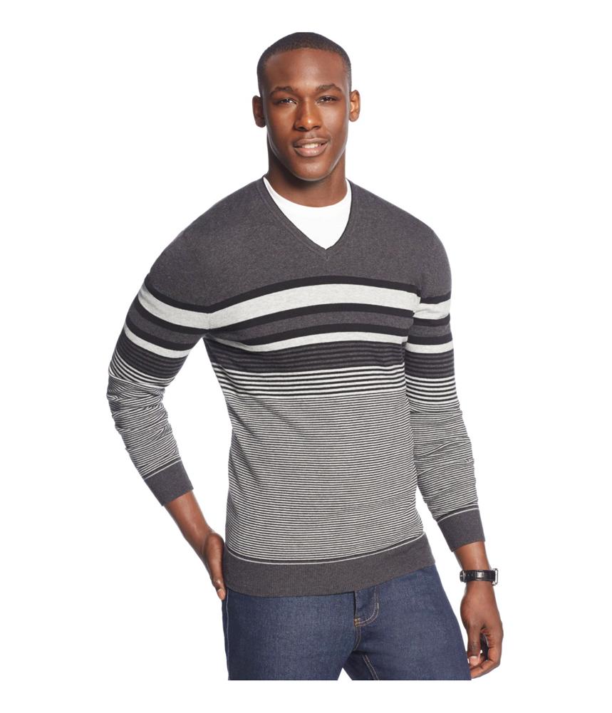 Alfani mens bold pop striped v neck pullover sweater for Alfani mens shirt size chart