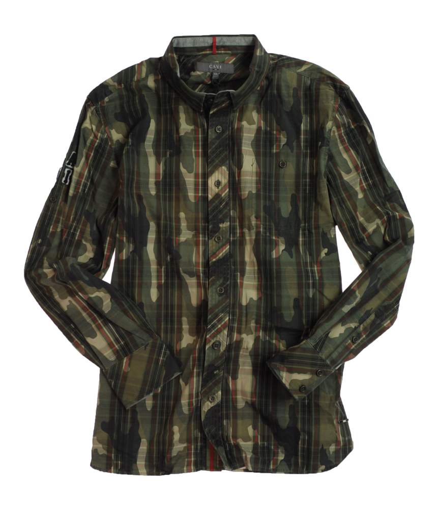 Cavi Mens Camouflage Camo Ls Button Front Shirt Army Green