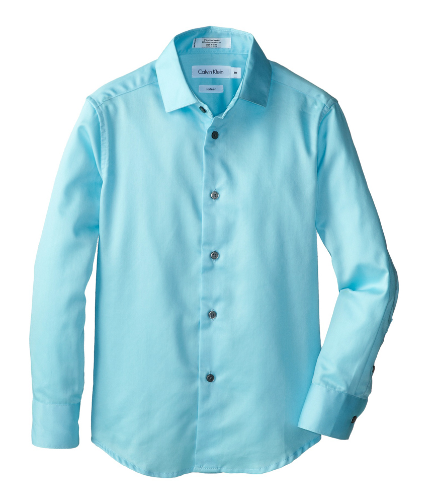 calvin klein boys sateen button up dress shirt ltteal xl