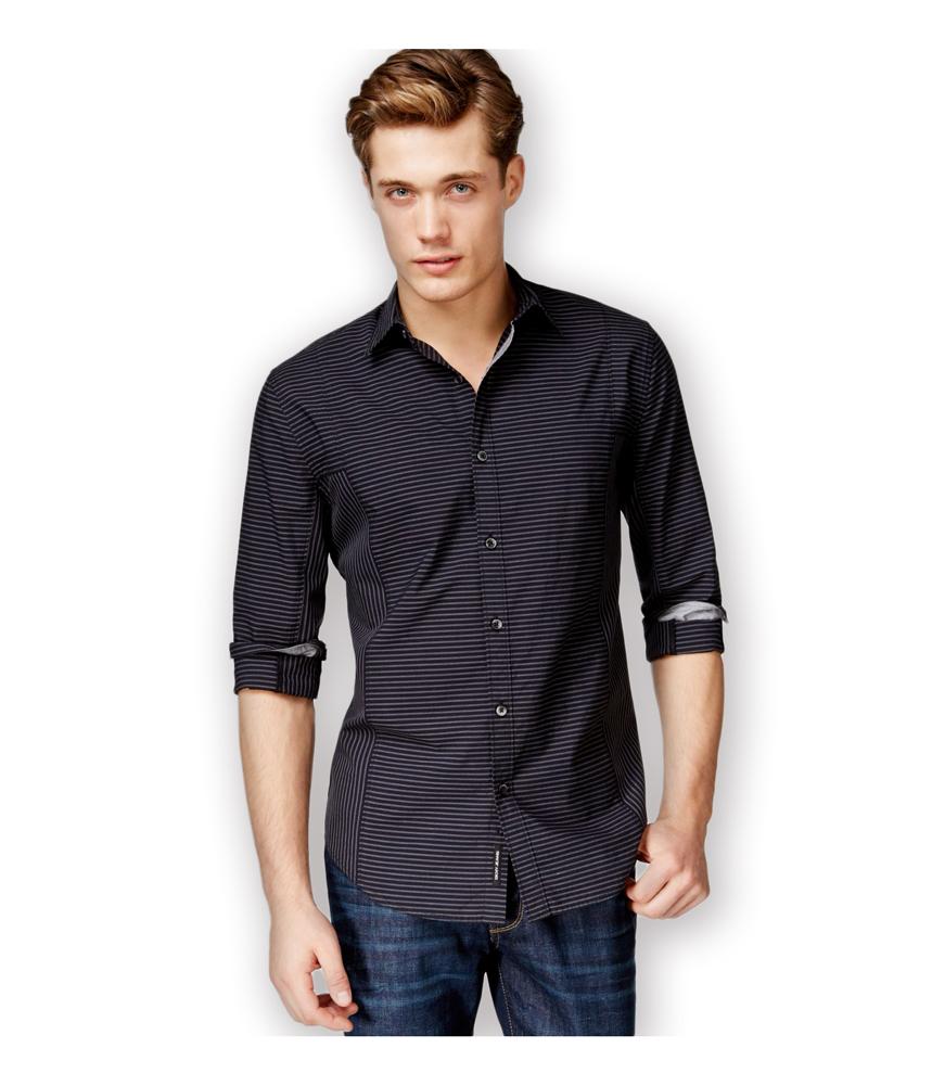 Dkny mens shadow striped button up shirt mens apparel for Striped button up shirt mens