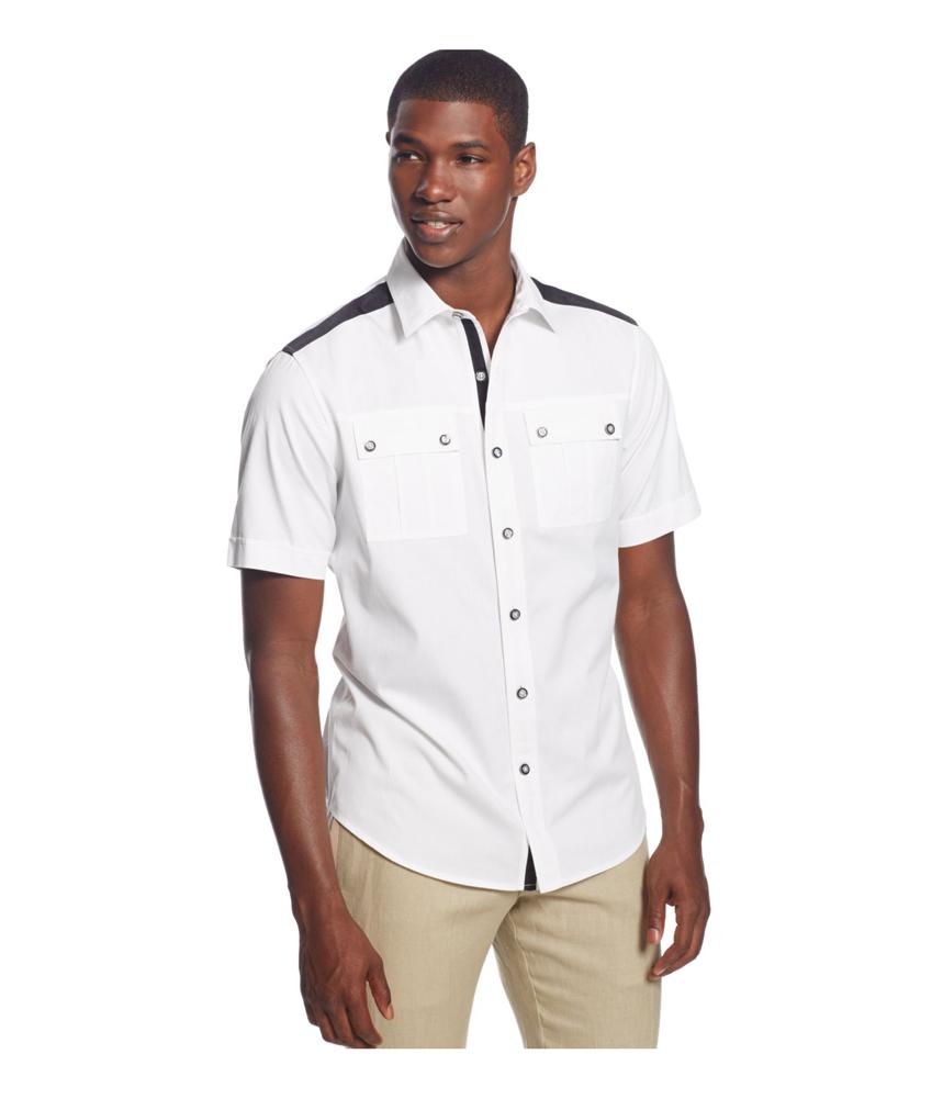 Sean john mens contrast trim twill button up shirt mens for Sean john t shirts for mens