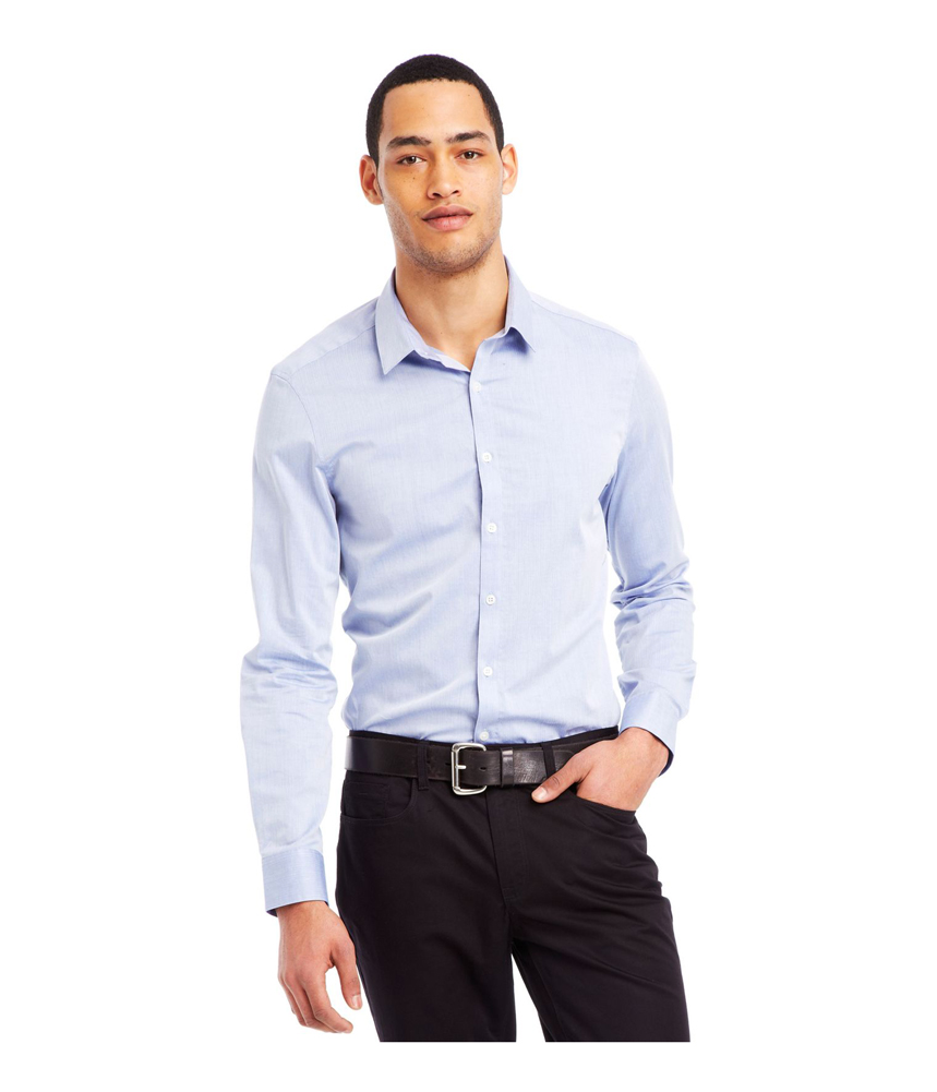 Kenneth Cole Mens Dobby Super Slim Button Up Shirt Mens