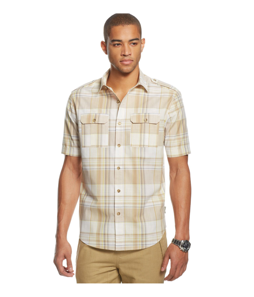Sean John Mens Plaid Pocket Button Up Shirt