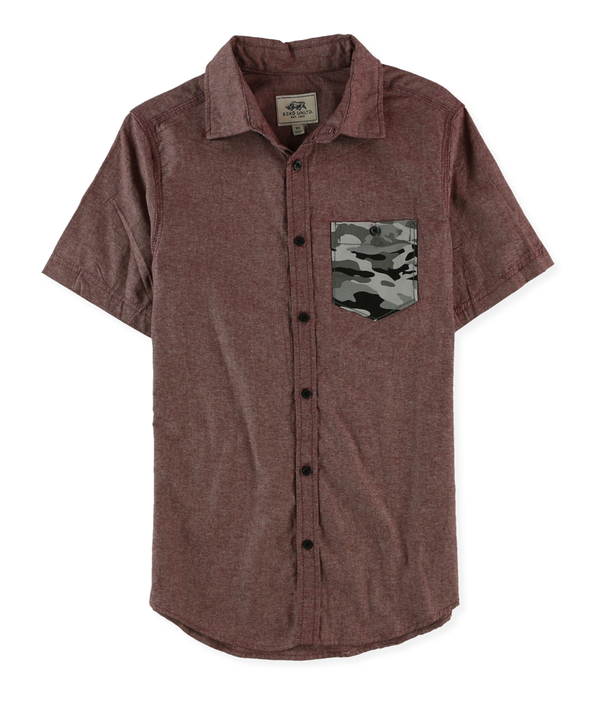 Ecko Unltd Mens Woven Camo Pocket Button Up Shirt Ebay