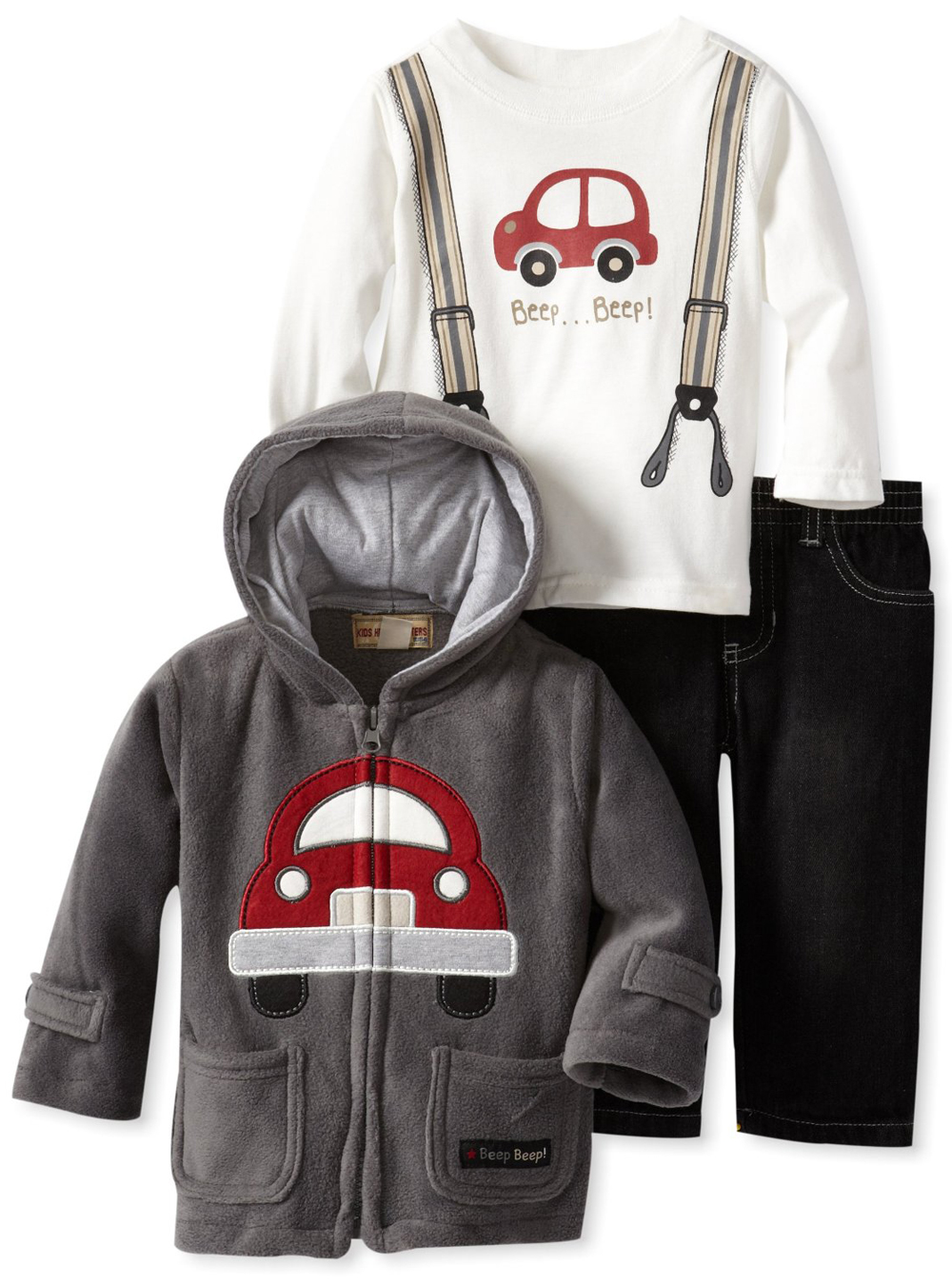 Kids Headquarters Infant Baby Boys 3 Piece Fleece Hoodie Jacket Jeans Pants Set at Sears.com