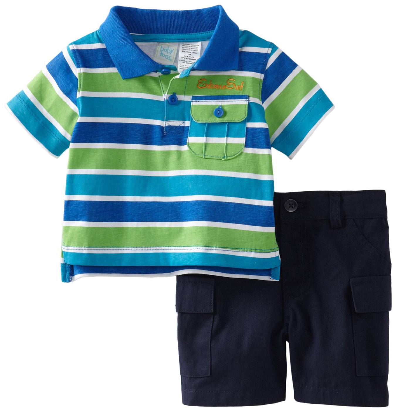 Baby Togs Toddler Boys 2 Piece Blue Striped Polo Shirt Navy Cargo Shorts Set at Sears.com