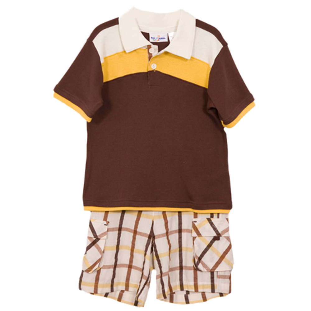 B. T. Kids Boys (4-7) 2pc brown striped polo top/plaid cargo shorts set at Sears.com