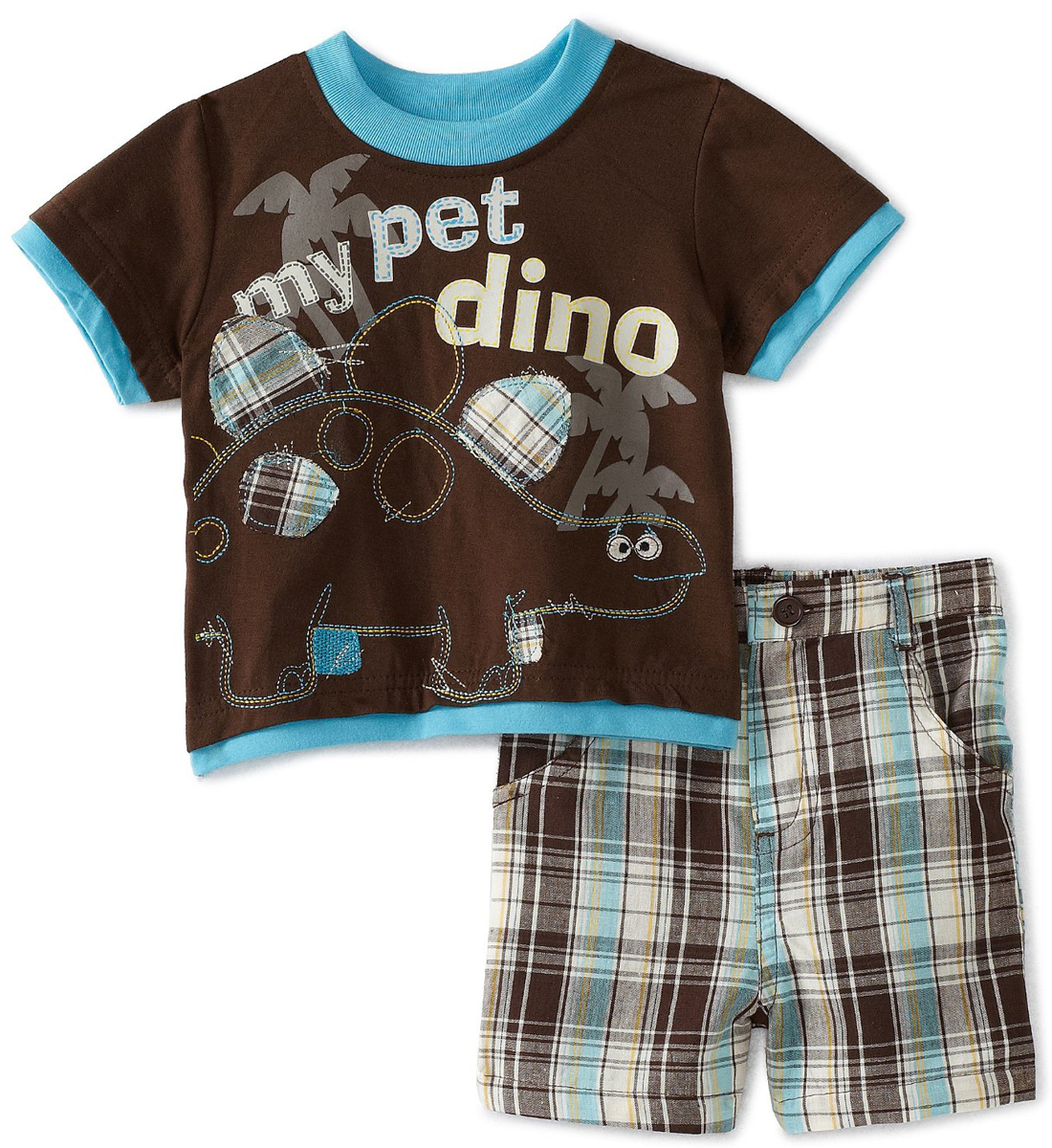 Little Rebels Infant Baby Boys 2 Piece Dinosaur Shirt Blue Plaid Shorts Set at Sears.com