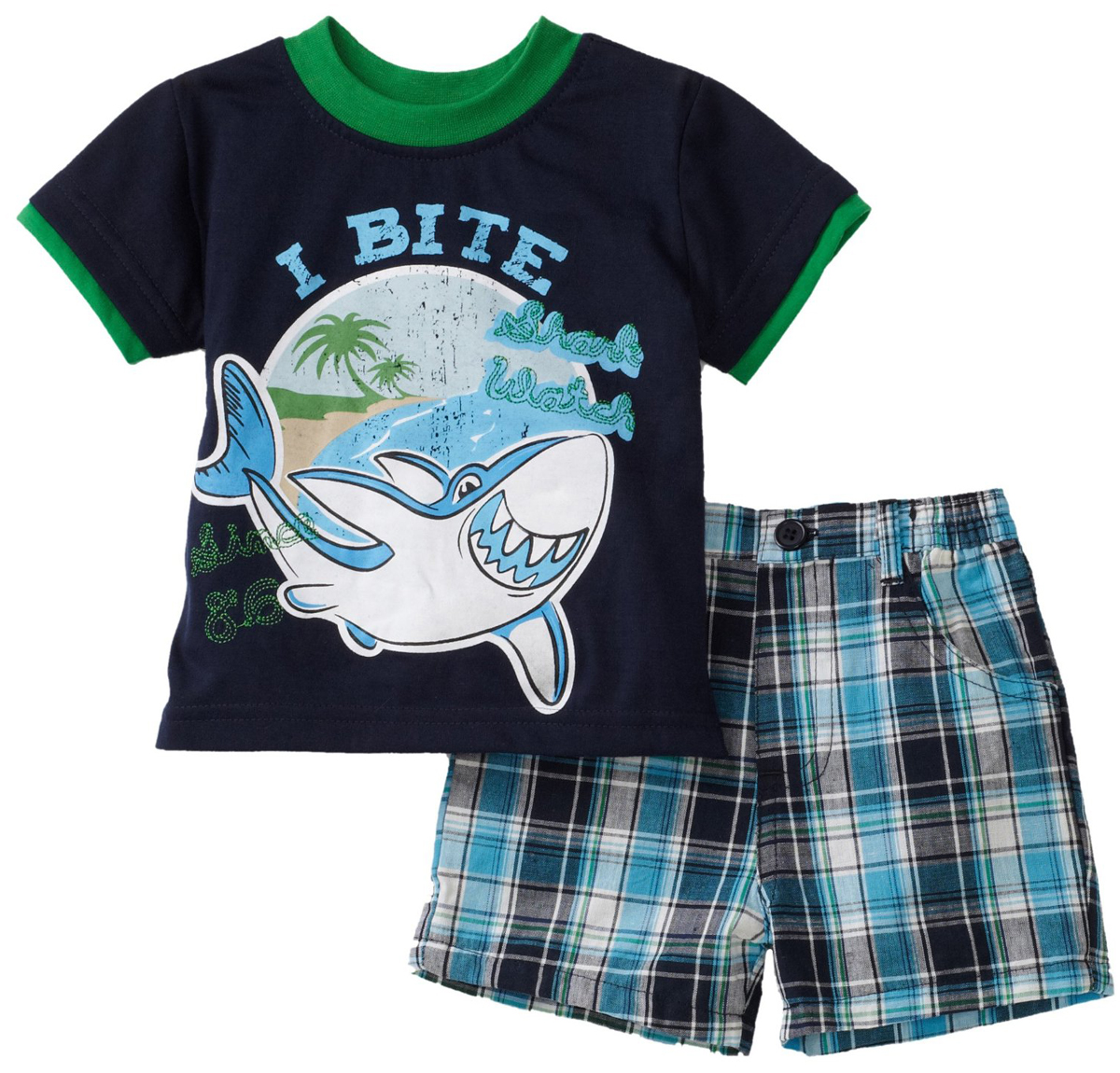 Little Rebels Infant Baby Boys 2 Piece Navy Shark T-shirt Blue Plaid Shorts Set at Sears.com