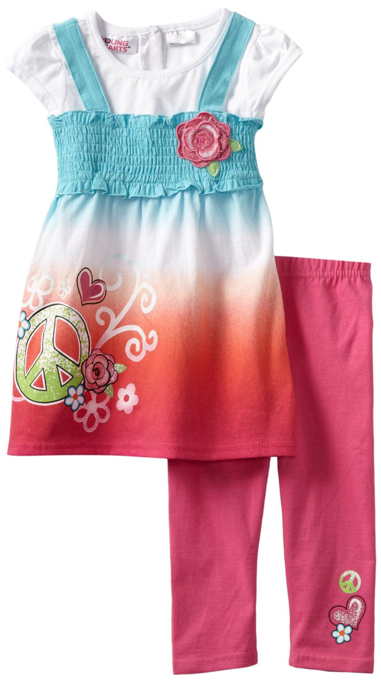 Young Hearts Little Girls 2 Piece Pink Peace Sign Tunic Top Leggings Set at Sears.com