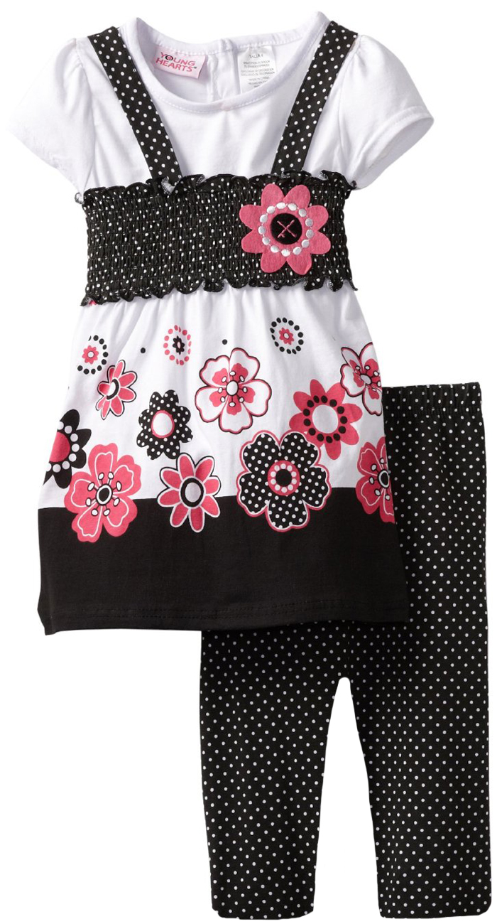 Young Hearts Little Girls 2 Piece Black Pink Tunic Top Polka Dot Leggings Set at Sears.com