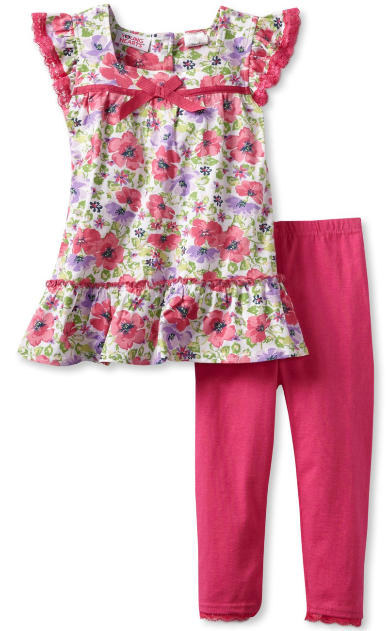 Young Hearts Little Girls 2 Piece Pink Floral Print Tunic Top Leggings Set at Sears.com