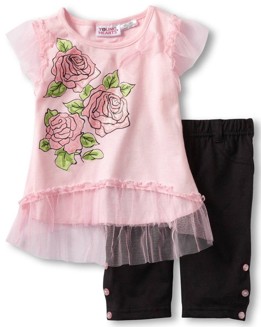 Young Hearts Baby Girls' 2 Piece Pink Glitter Rose Top Black Leggings Set
