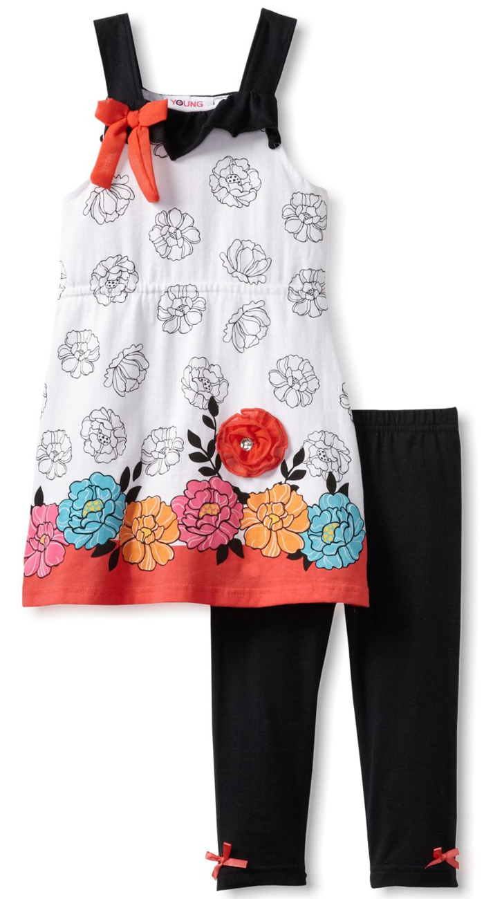 Young Hearts Little Girls 2 Piece Floral Summer Tunic Top Black Leggings Set at Sears.com