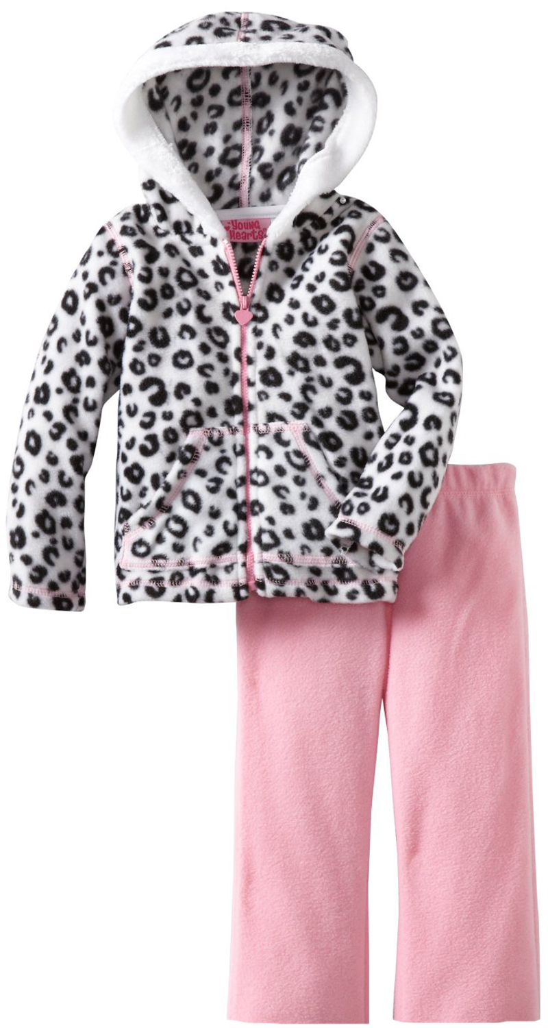 Young Hearts Little Girls 2 Piece Leopard Print Hoodie Jacket Pink Pants Set at Sears.com