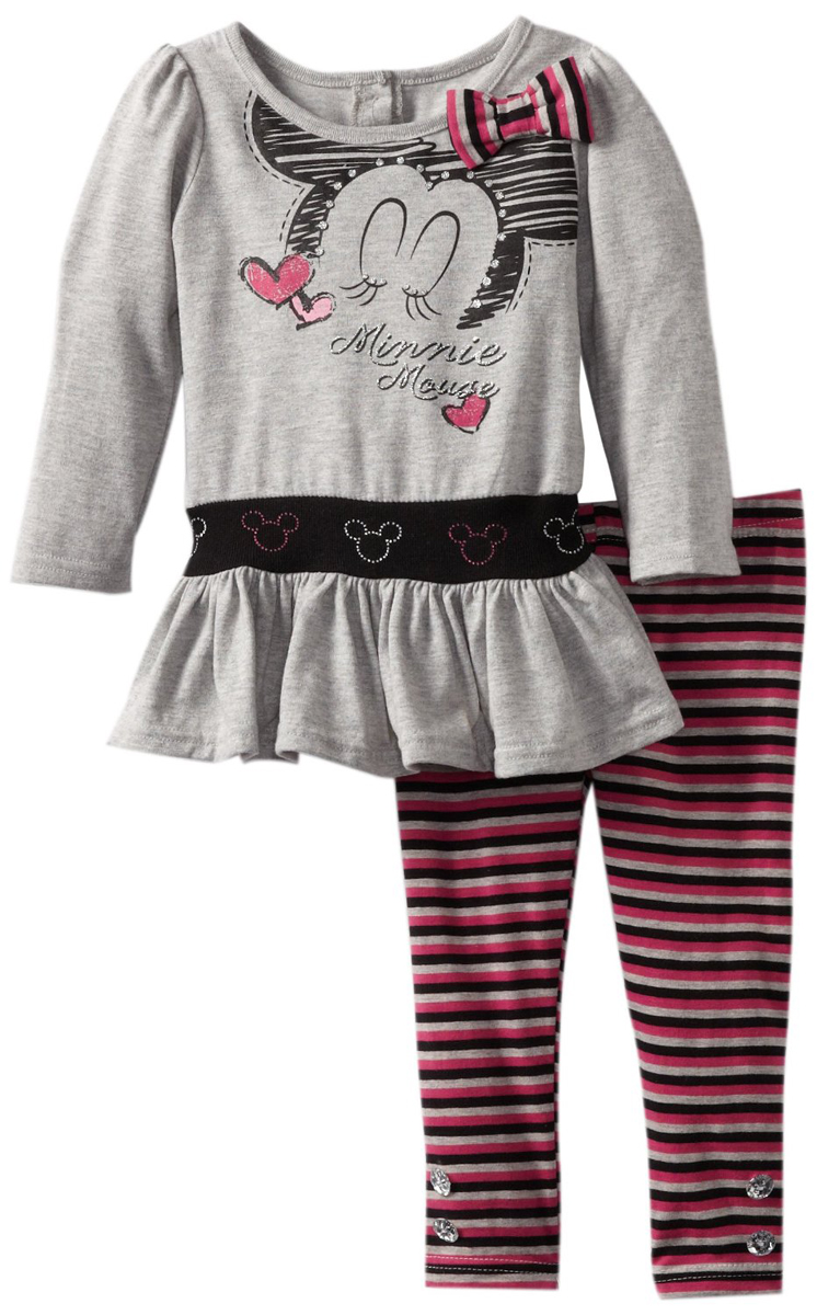 Disney Toddler Girls 2 Piece Minnie Mouse Tunic Top Pink Striped Leggings Set at Sears.com