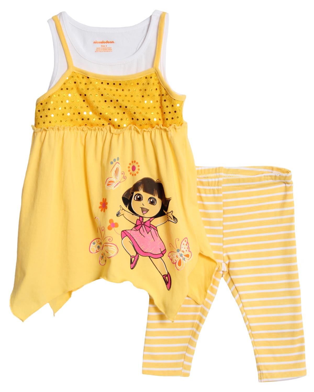 Nickelodeon Little Girls' 2 Piece Dora the Explorer Top Striped Leggings Set at Sears.com