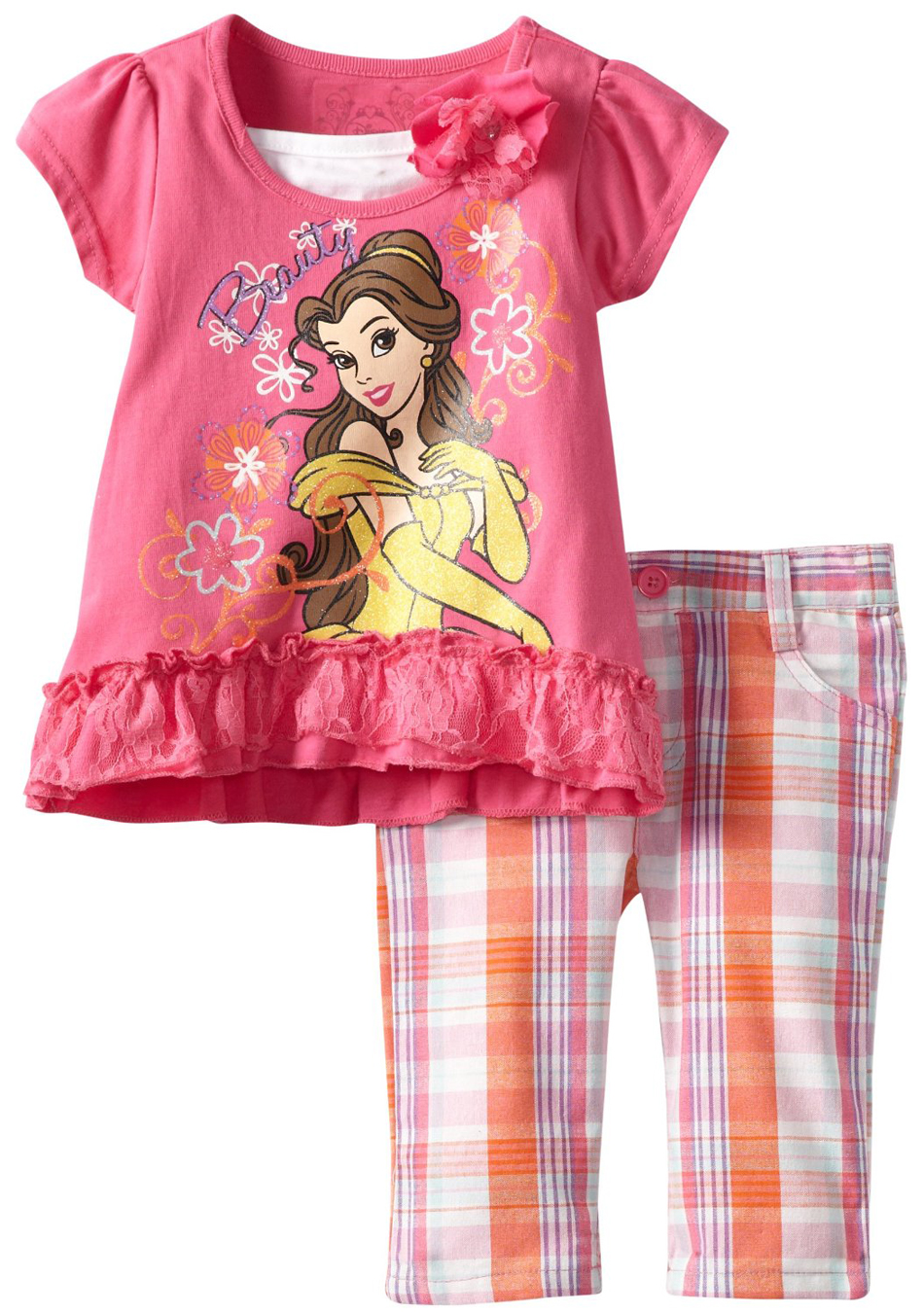 Disney Princess Little Girls' 2 Piece Pink Lace Top Plaid Capri Pants Set at Sears.com