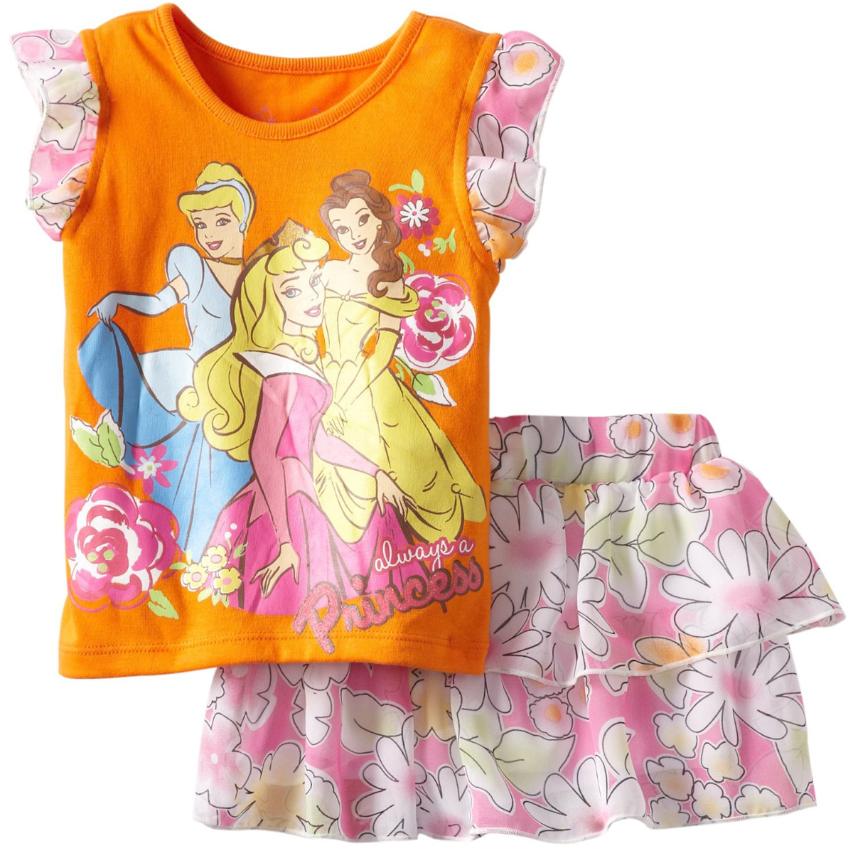 Disney Princess Little Girls' 2 Piece Orange Top Pink Floral Print Scooter Set at Sears.com