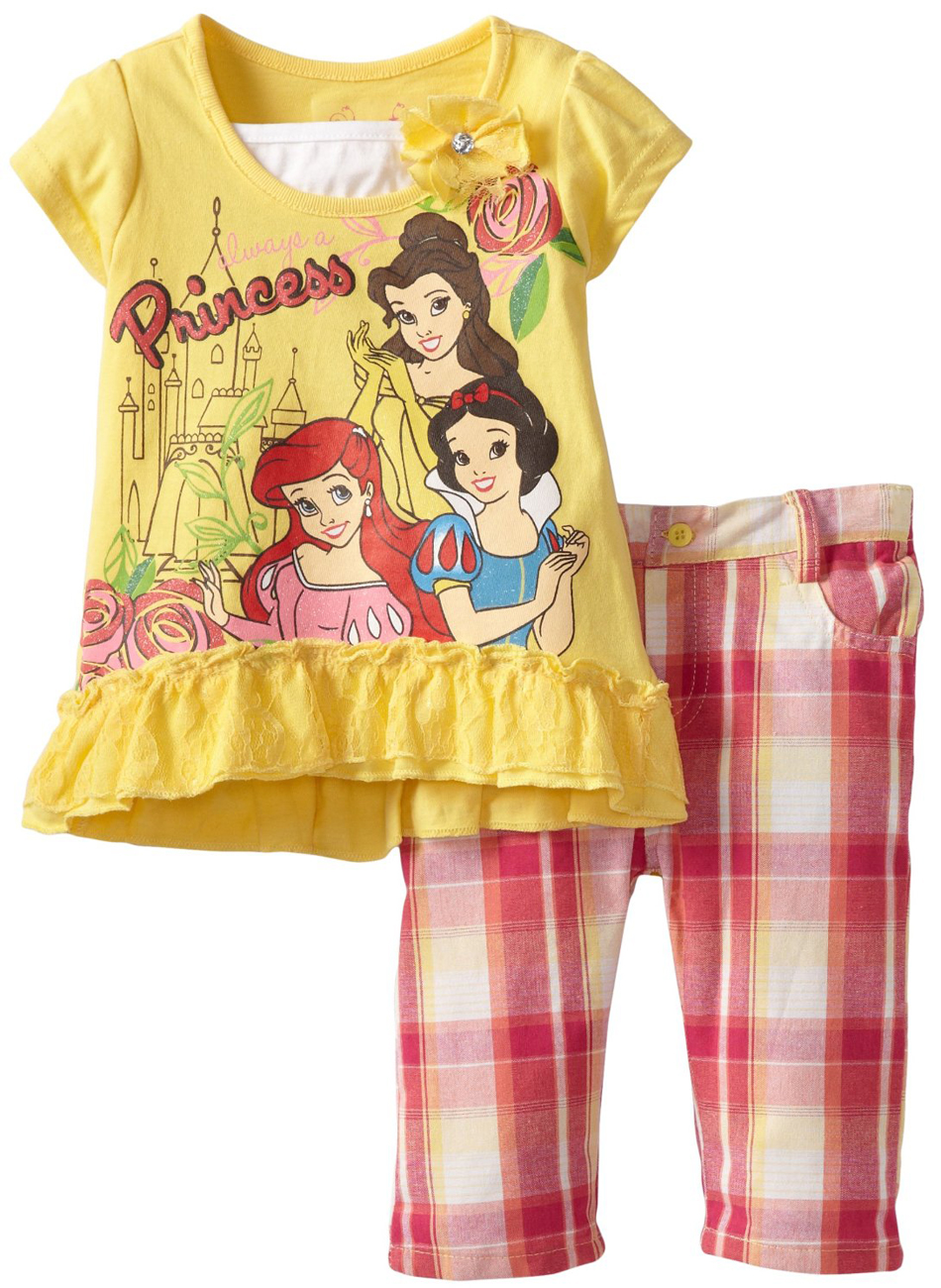 Disney Princess Little Girls' 2 Piece Yellow Top Pink Plaid Capri Pants Set at Sears.com