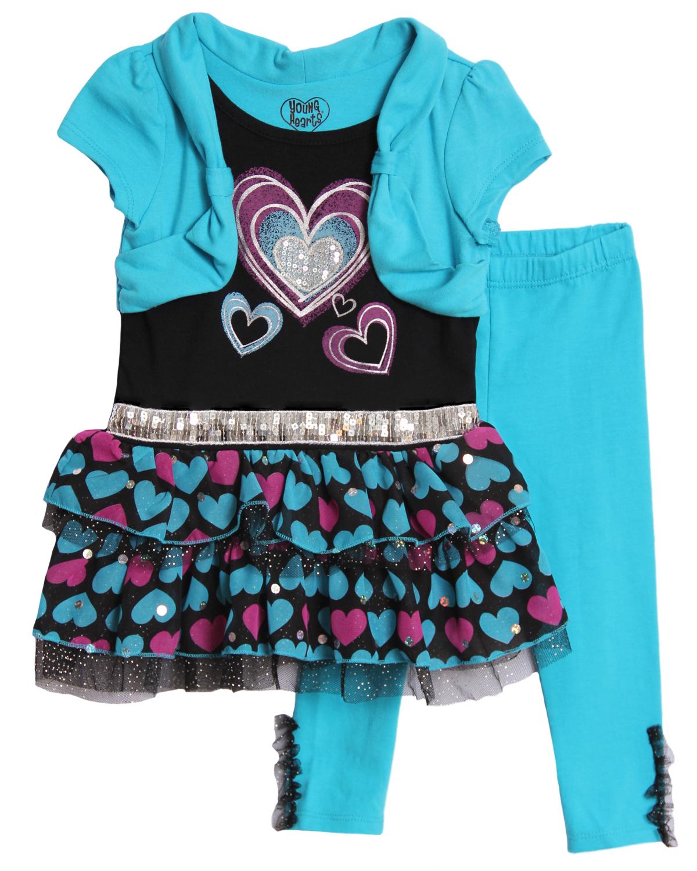Young Hearts Baby Girls' 2 Piece Blue Purple Tutu Top Leggings Set
