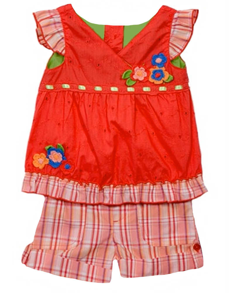 B.T. Kids Baby Girls' 2 Piece Red Eyelet Sleeveless Top Pink Plaid Shorts at Sears.com