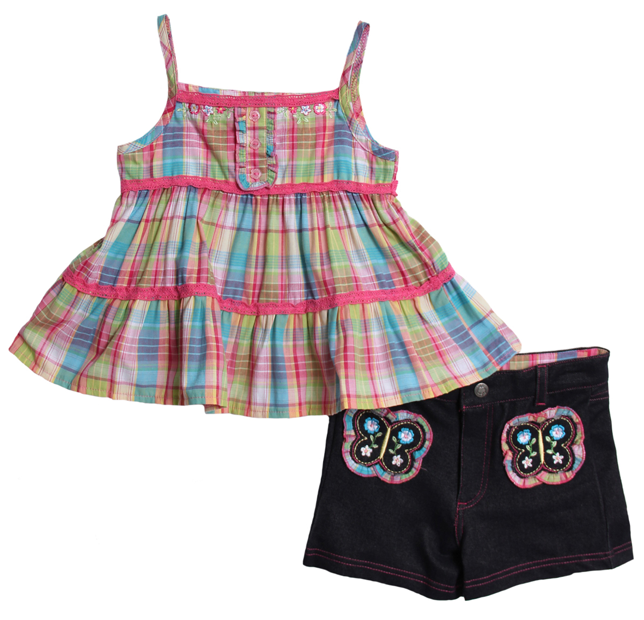 B.T. Kids Baby Girls' 2 Piece Pink Plaid Tank Top Denim Butterfly Shorts at Sears.com