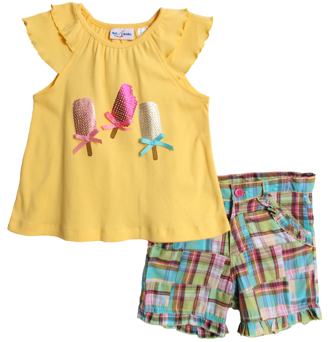 B.T. Kids Little Girls 2 Piece Summer Popsicle Yellow Top Patchwork Shorts Set at Sears.com
