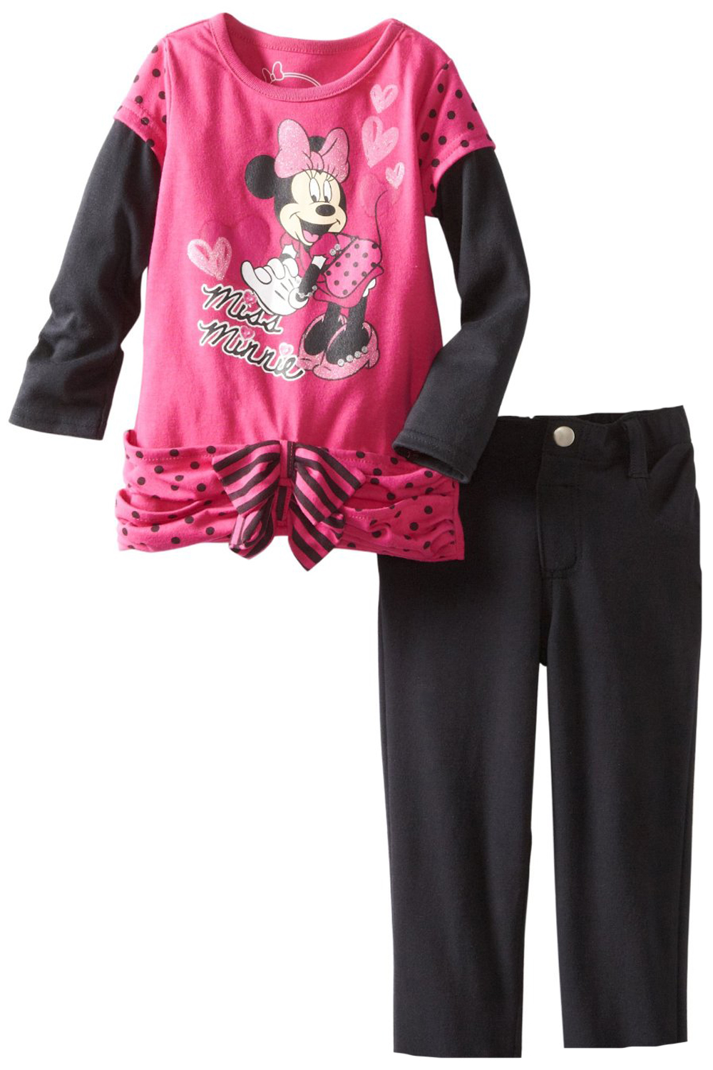 Disney Toddler Girls 2 Piece Pink Polka Dot Minnie Mouse Tunic Top Stretch Pants at Sears.com