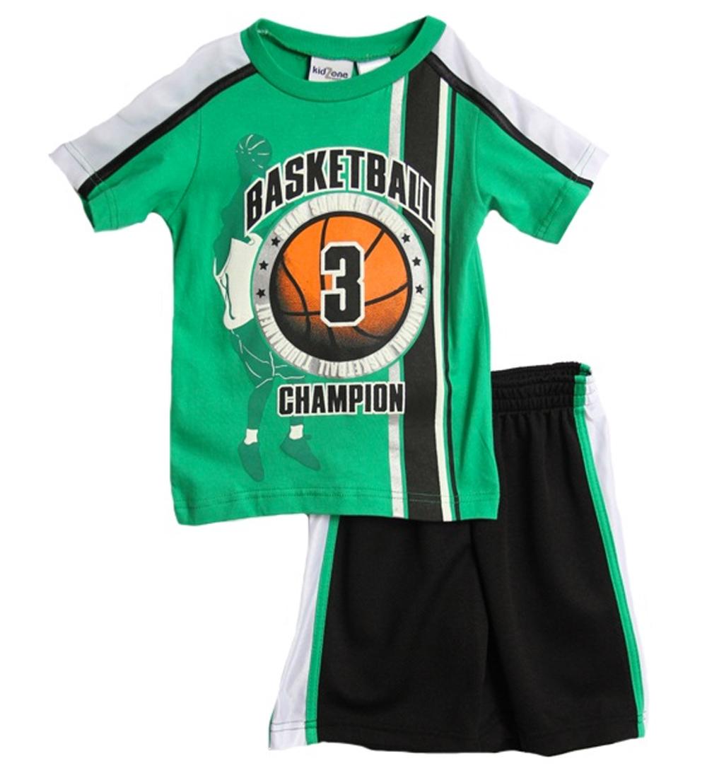 Kid Zone Infant Boys (12-24mo) 2pc green/black basketball shirt and shorts set