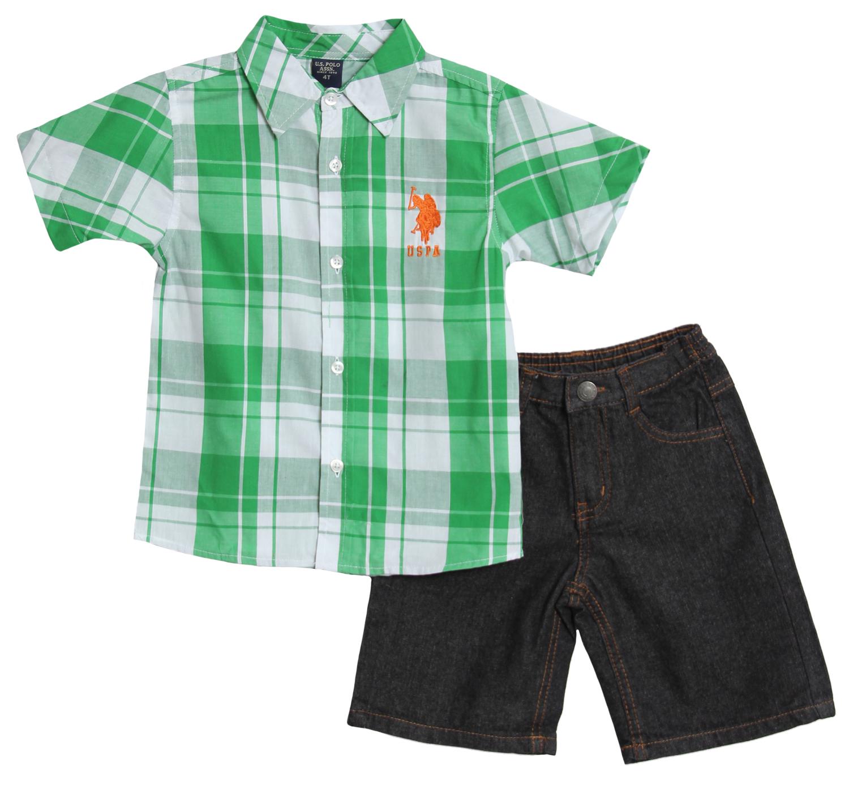 U.S. Polo Assn. Little Boys' 2 Piece Plaid Button Up Shirt Denim Shorts Set at Sears.com