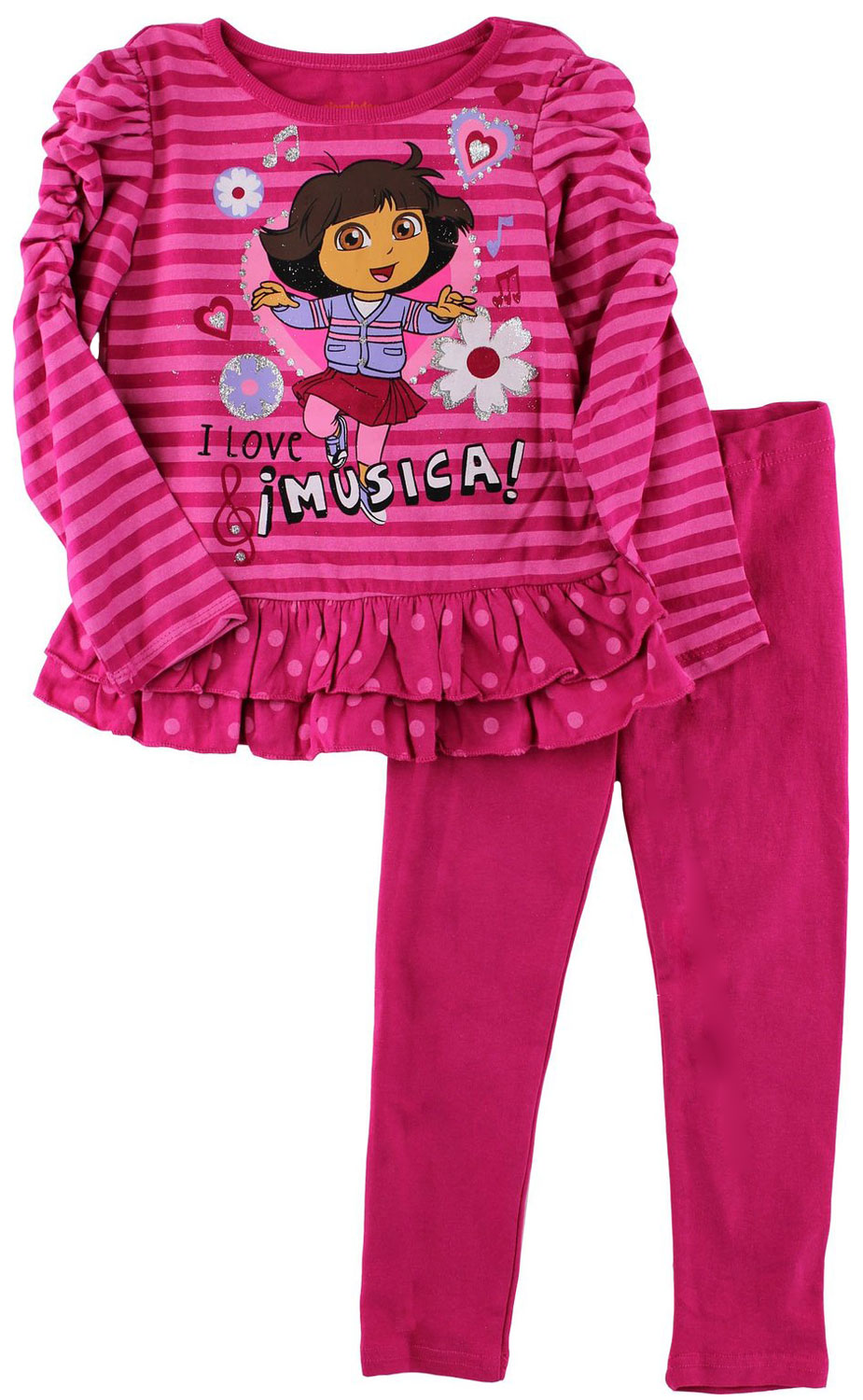 Nickelodeon Little Girls 2 Piece Dora the Explorer Pink Striped Top Leggings Set at Sears.com