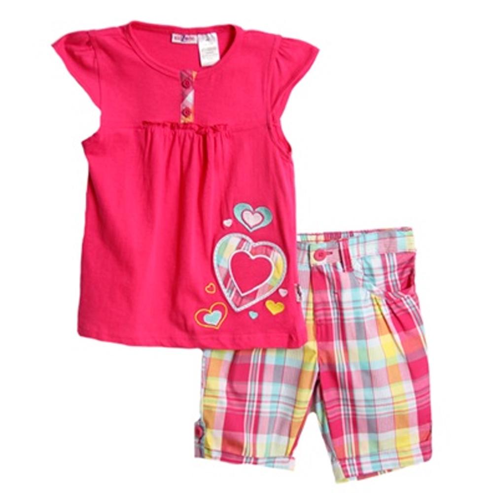 Kids Zone Kid Zone Infant Baby Girls 2 Piece Pink Heart Shirt Summer Plaid Bermuda Shorts at Sears.com