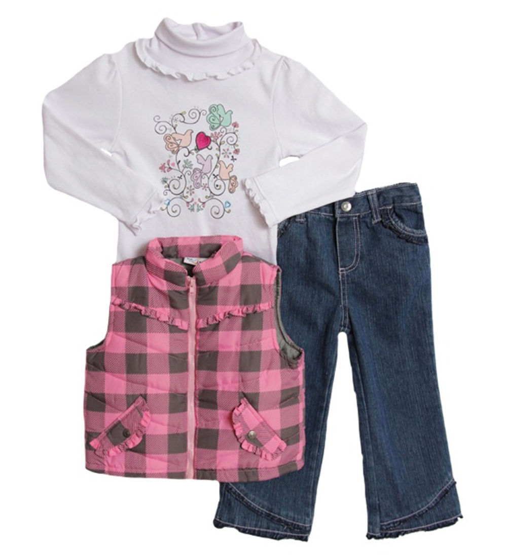 B.T. Kids Infant Girls (12-24 months) 3 pc pink plaid puffy vest and jeans set at Sears.com