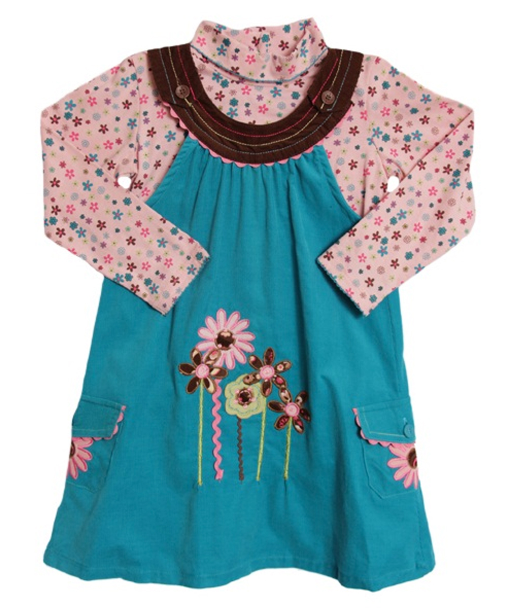 B.T. Kids Toddler Girls 2 Piece Turquoise Corduroy Jumper Pink Floral Turtleneck at Sears.com