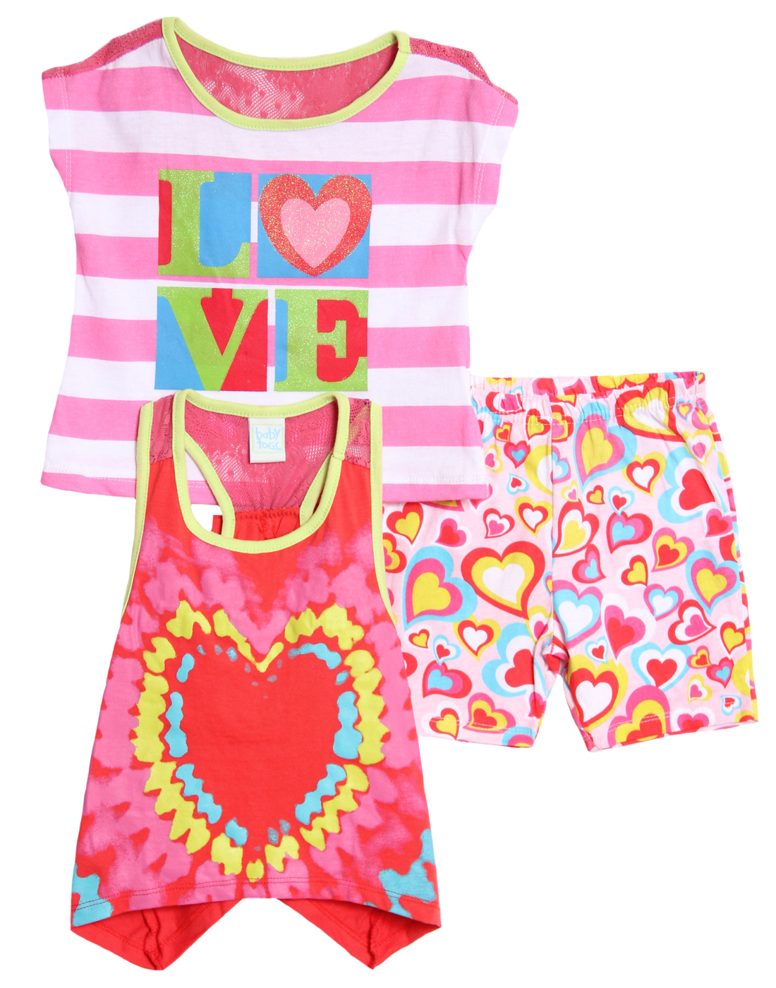 Baby Togs Infant Baby Girls 3 Piece Racerback Tank Top Striped Shirt Knit Shorts at Sears.com