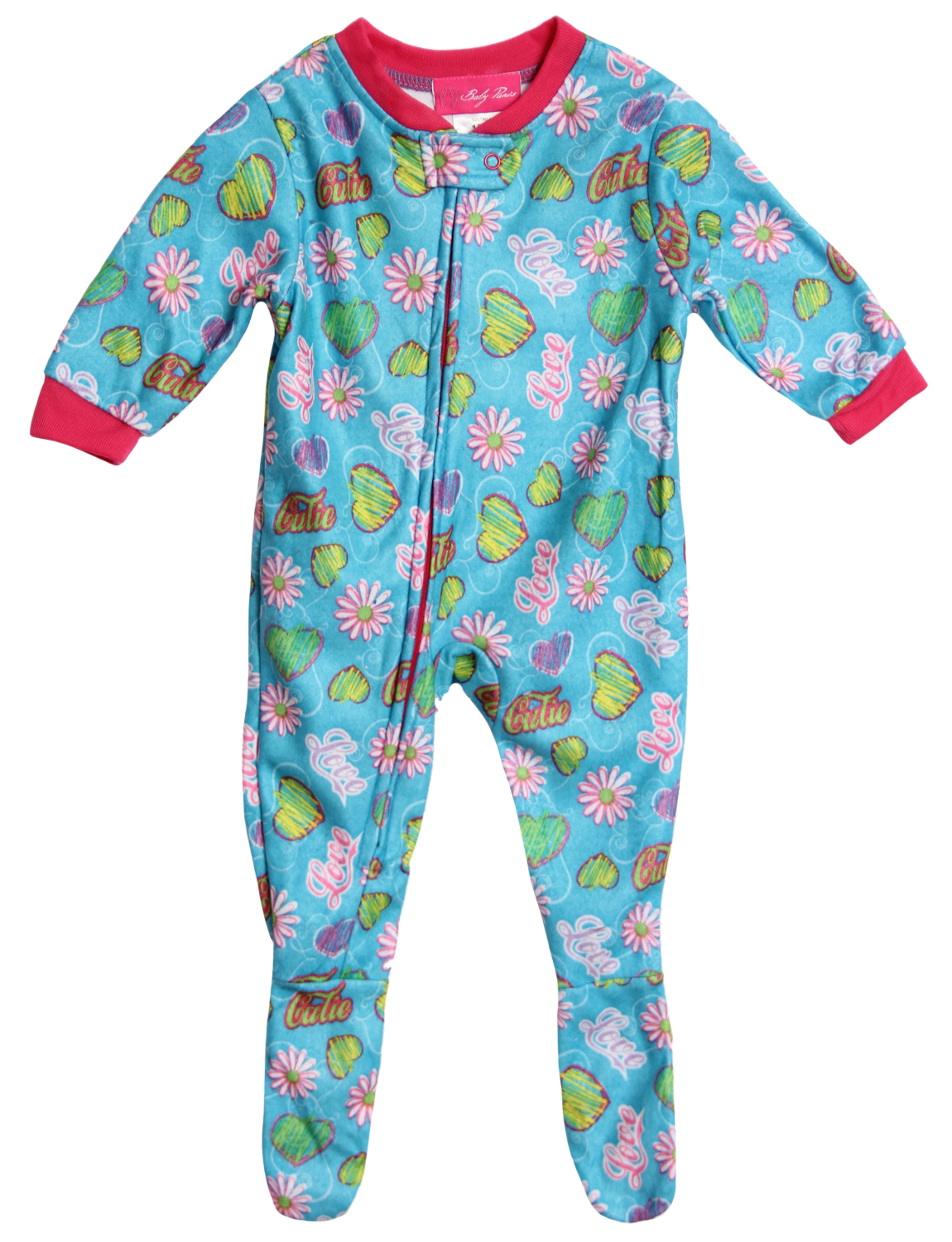 Baby Paris Baby Girls' 1 Piece Blue Footed Sleeper Flannel Pajamas