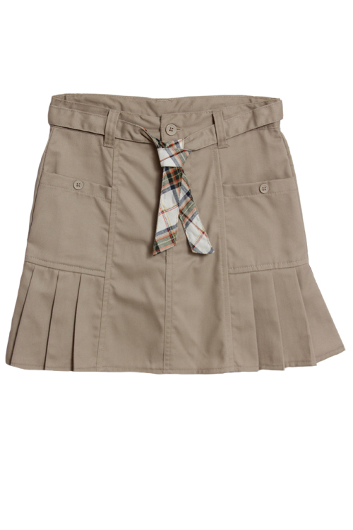 Eddie Bauer Girls (4-16) School Uniform Pleated Skort with Belt - Khaki at Sears.com