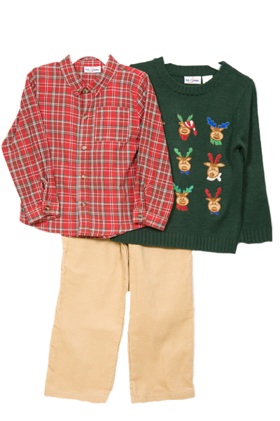 Baby Togs Boys (4-6x) 3pc Christmas green reindeer sweater & khaki pants set at Sears.com