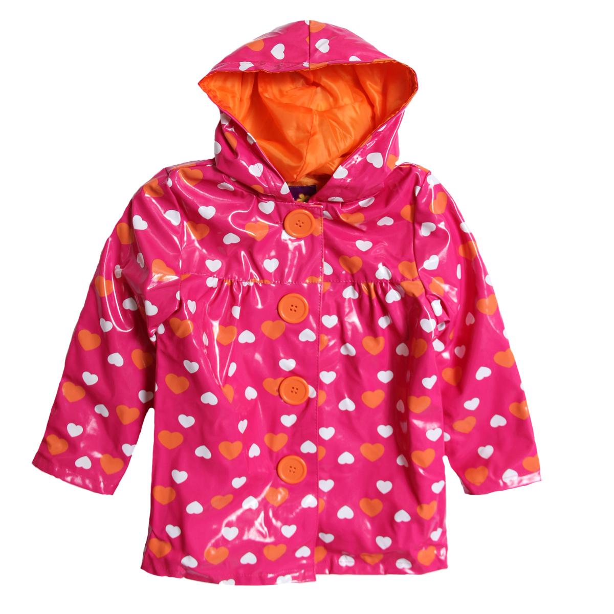Pink Platinum Baby Girls' Pink Orange Heart Polka Dot Hooded Raincoat Jacket at Sears.com