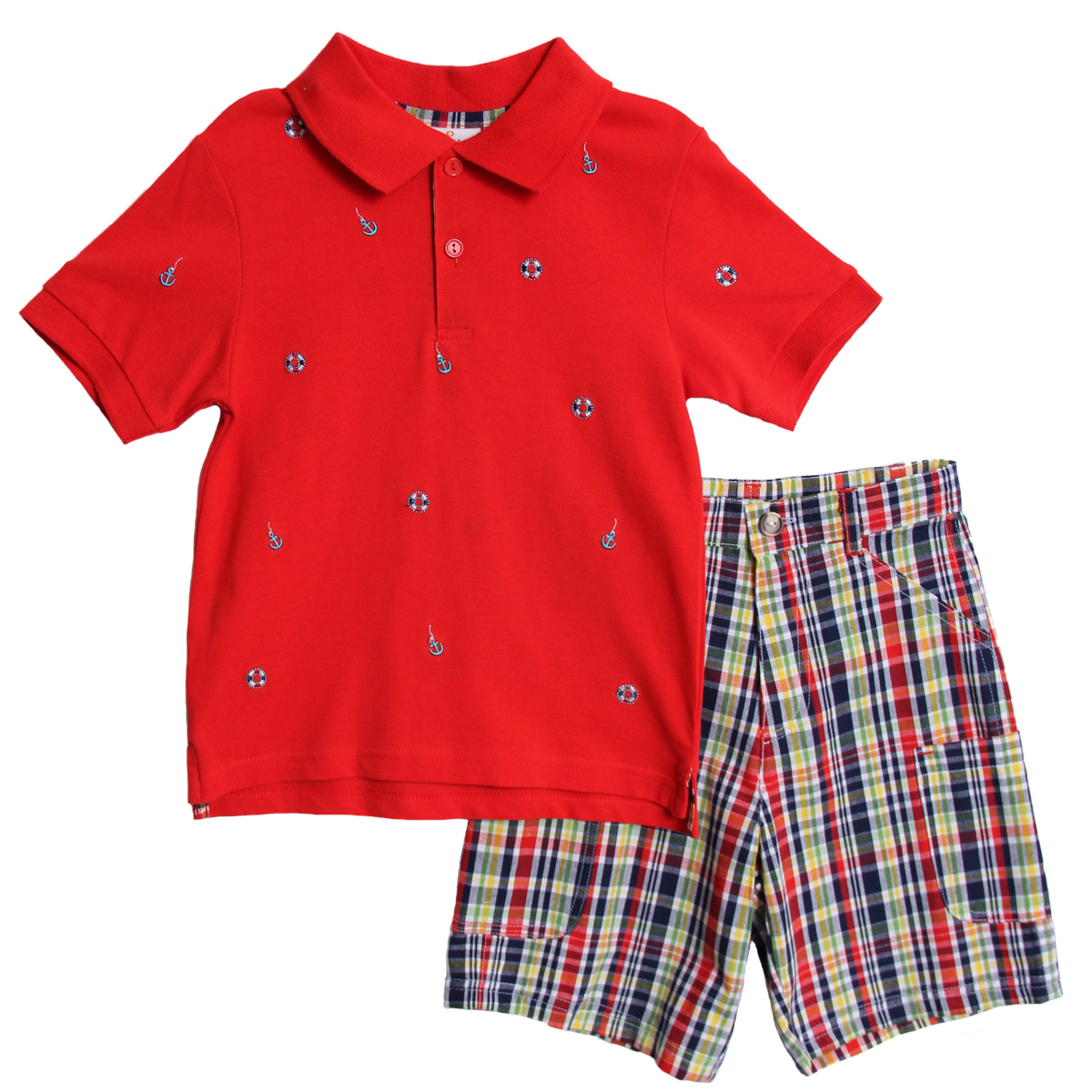 B. T. Kids Boys (4-7) 2pc red polo/colorful plaid shorts set - set sail at Sears.com