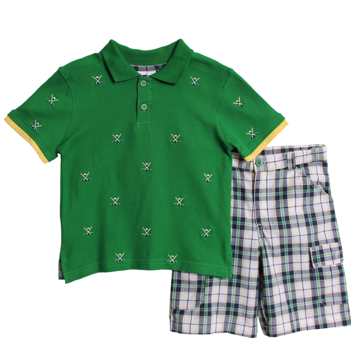 B. T. Kids Boys (4-7) 2 pc green golf polo shirt and plaid cargo shorts set at Sears.com