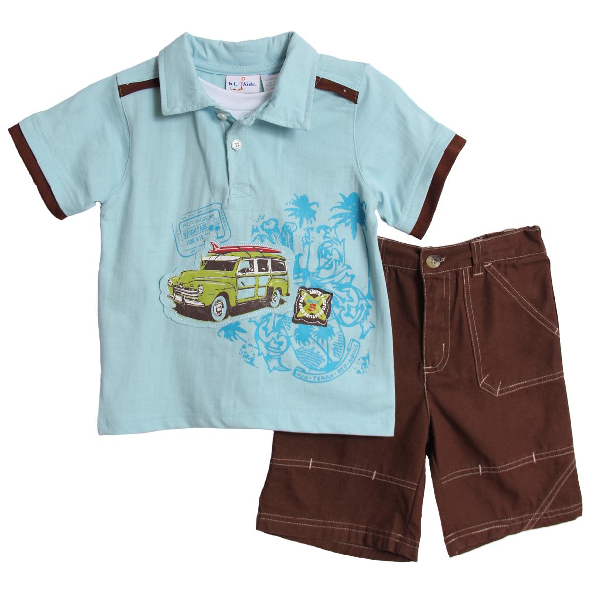 B.T. Kids Toddler Boys 2 Piece Blue Surf Shirt Brown Cargo Shorts Beach Set