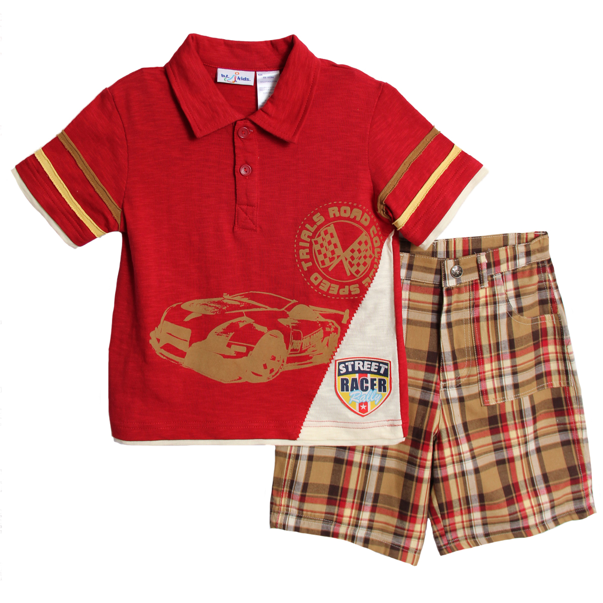 B. T. Kids Boys (4-7) 2 pc red polo racing shirt and plaid shorts set at Sears.com